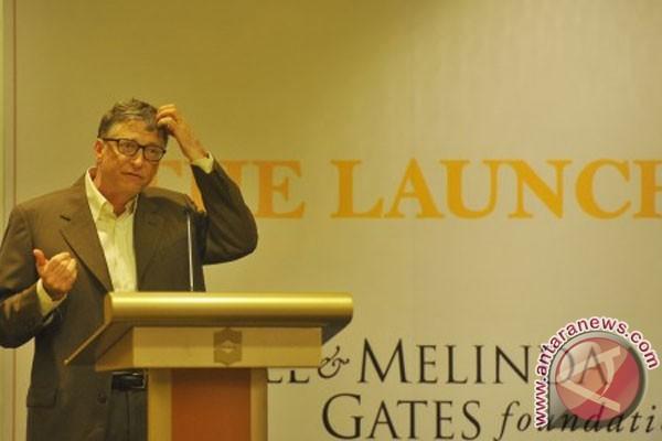 Bill Gates pada saat berbicara kepada para pengusaha Indonesia. Kehadiran Gates ke Indonesia memunculkan rumor bahwa ia akan ikut meramaikan pemilu presiden 9 Juli nanti. (photo courtesy ANTARA)