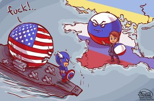 Karikatur yang beredar di dunia maya, mengenai peran Poklonskaya dalam menghambat intervensi Amerika Serikat ke Krimea. (photo courtesy reddit.com)