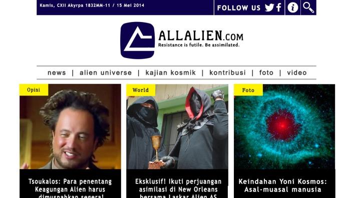 Laman utama situs allalien.com tertanggal akses 15 Mei 2014. Terdapat tajuk opini yang menggunakan nama Giorgio Tsoukalos. Tsoukalos sendiri membantah bahwa dirinya menulis opini tersebut. (pic edited and arranged by POS RONDA)