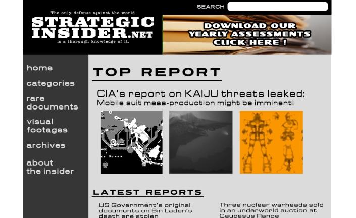 Laman utama situs StrategicInsider.net tertanggal akses 19 Mei 2014. Tampak isu bocornya dokumen CIA mengenai KAIJU sebagai tajuk laporan utama. (pics edited by POS RONDA)