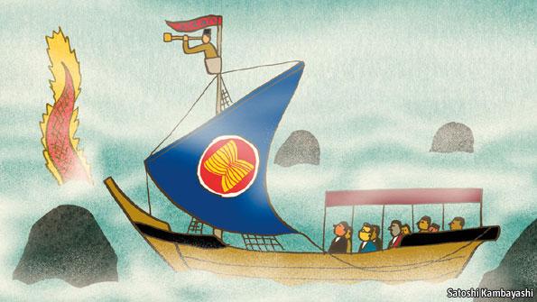 Karikatur mengenai hubungan antara ASEAN dengan Cina. Kondisi di wilayah perbatasan antara beberapa negara di Asia Tenggara sedang memanas akibat sengketa teritorial dengan Cina. (image courtesy economist.com)