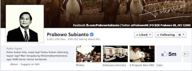 Laman Facebook resmi Prabowo Subianto. Hilangnya server Facebook diduga terkait dengan share status dari akun Facebook milik Prabowo, namun FBI tidak memiliki petunjuk yang kuat untuk membuktikan hal tersebut. (photo courtesy jpnn.com)