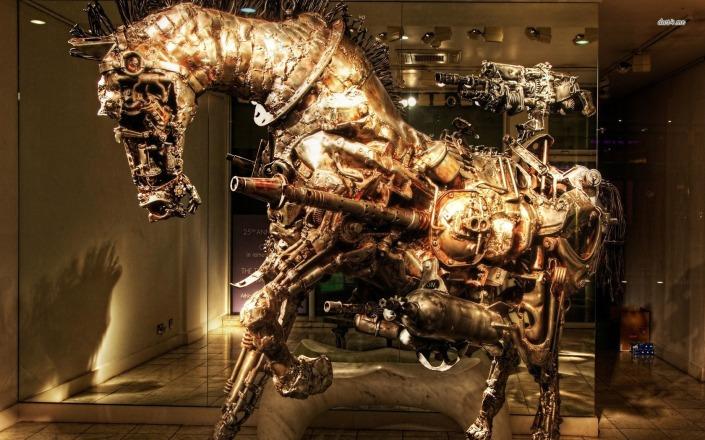 Kuda steampunk yang menjadi salah satu pajangan. Termasuk salah satu kuda mekanis favorit Prabowo, dibangun saat masih aktif di militer dan awalnya ingin ditawarkan ke TNI (saat itu ABRI) namun tidak jadi. (photo courtesy desktopwallpapers4.me)