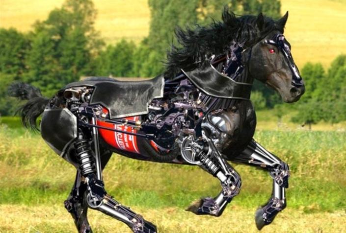 Kuda hitam mekanis yang berlari di areal kediaman Prabowo. Kuda ini merupakan karya terakhir Prabowo sebelum disibukkan oleh proses pemilu dan pilpres tahun 2014. (photo courtesy scenicreflections.com)