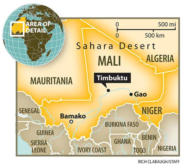 Lokasi Timbuktu yang terletak di negara Mali. Sejumlah agen wisata bersiap untuk menawarkan paket wisata ke Timbuktu bagi para pendukung capres yang kalah pada pilpres tanggal 9 Juli nanti. (photo courtesy broadcanvas.blogspot.com)