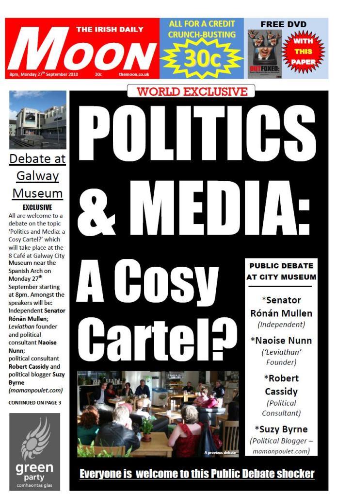 Headline di sebuah tabloid di Irlandia yang mengangkat isu kolaborasi media massa dan pelaku politik. Tidak hanya di Indonesia, media massa dan politik sering sekali membentuk kombinasi yang kuat demi kepentingan bisnis dan kekuasaan. (photo courtesy indymedia.ie)