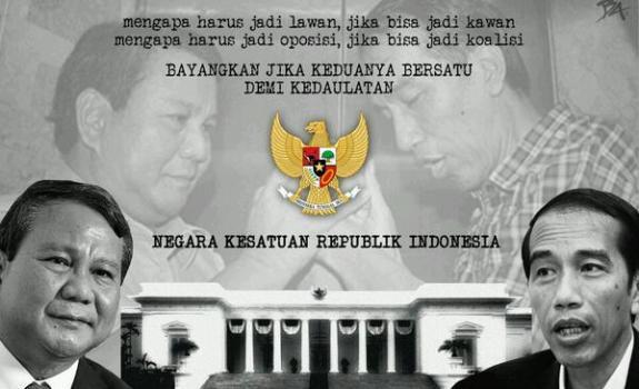 Ketatnya hasil hitung cepat serta klaim kemenangan yang dikeluarkan oleh kedua pihak menyebabkan munculnya saran agar Prabowo dan Jokowi bekerja sama, entah menjadi presiden secara bergiliran atau diblender bersama menjadi satu orang saja. (photo courtesy rmol.co)