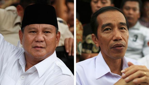Kandidat presiden Prabowo Subianto dan Joko Widodo. Melalui hasil hitung cepat, keduanya mendeklarasikan diri sebagai pemenang pilpres. Meski demikian, keduanya tetap meminta pendukungnya untuk tenang dan mengawal suara hasil pilpres hingga penentuan hasil akhir oleh KPU. (photo courtesy tempo.co)